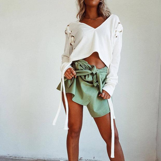 Side Lace Up Knitted Crop Top - worthtryit.com