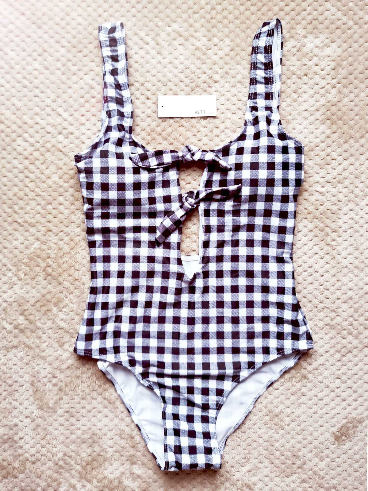 Gingham Multi Front Tie Bow Backless One Piece Swimsuit - worthtryit.com