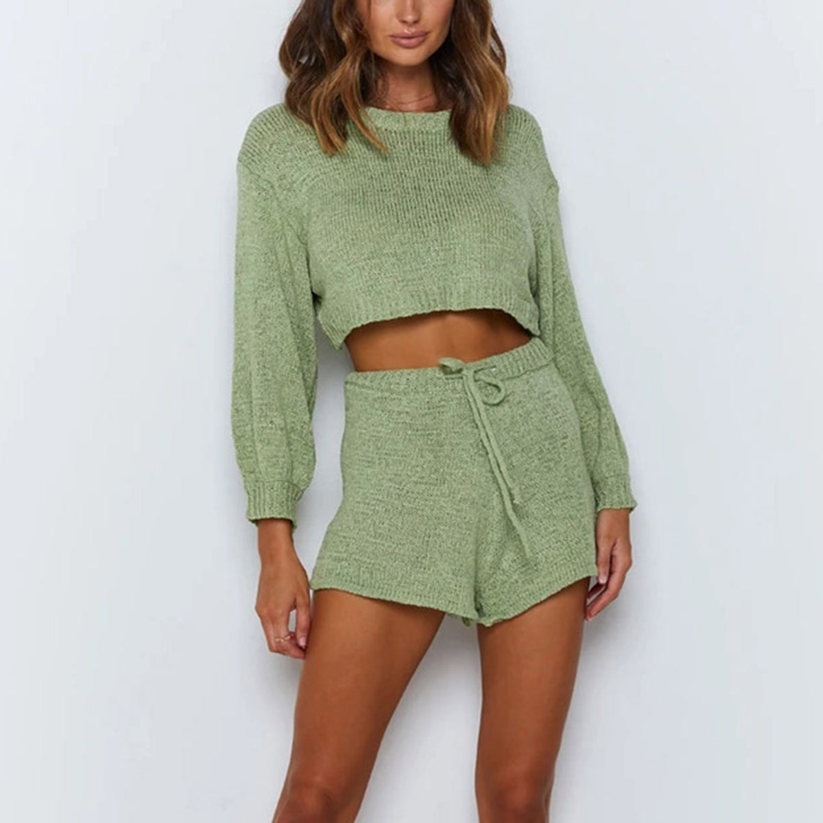 Round Neck Cropped Knit Sweater & Shorts