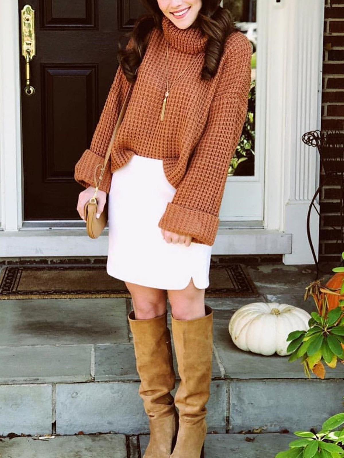 Cute High Neck Bell Sleeves Knit Sweater