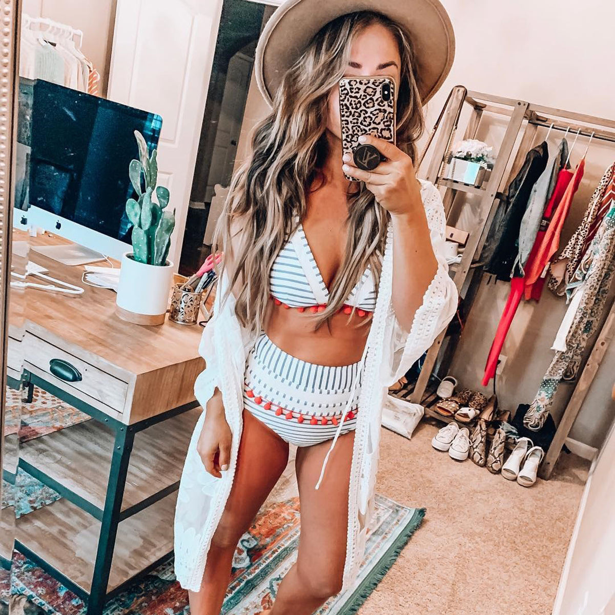 Cute Mesh & Pom-Pom High Waisted Triangle Bikini Swimsuit - worthtryit.com