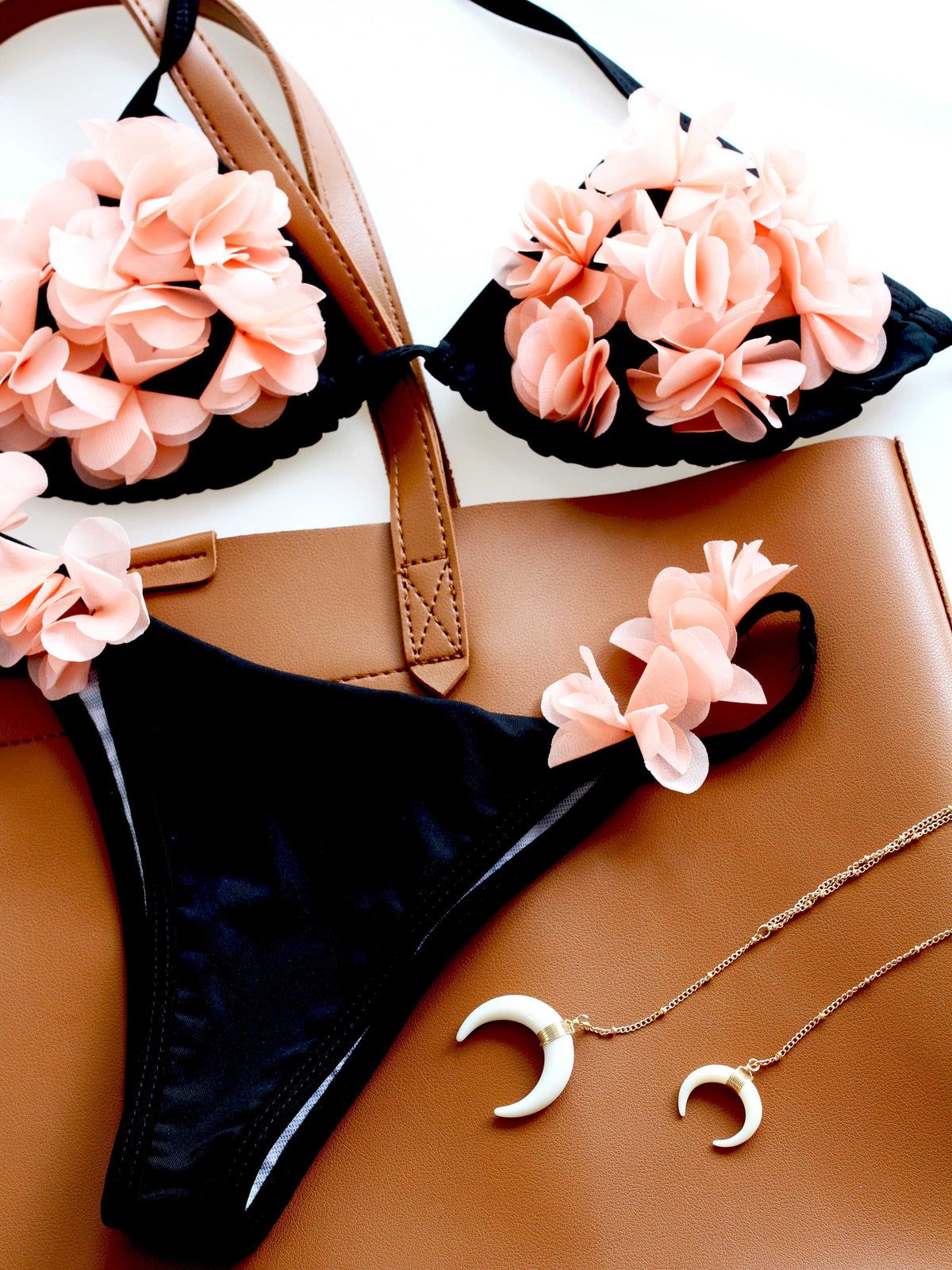 Cute 3D Petals Bikini Set- Black - worthtryit.com