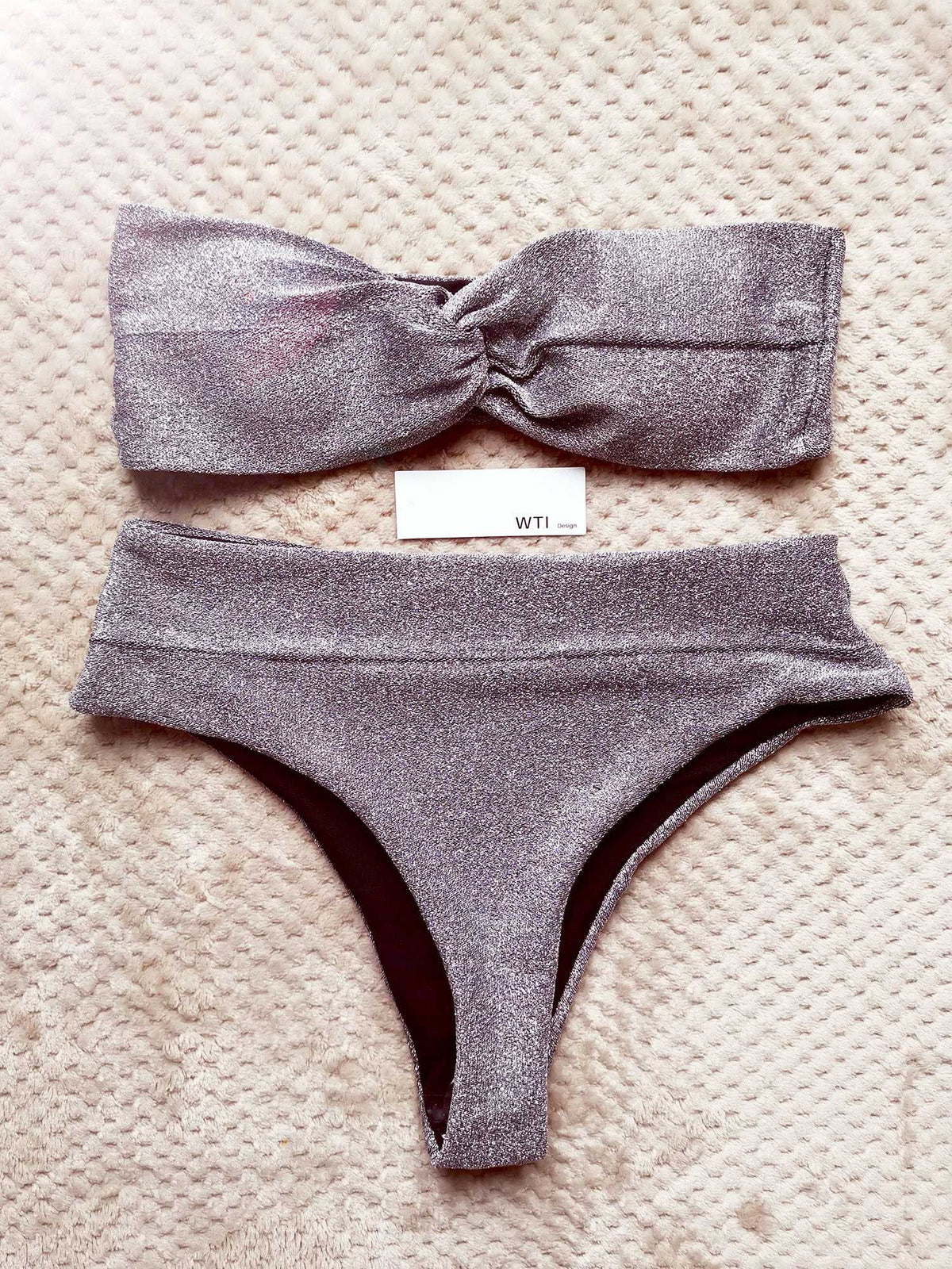 Silver Knit Twisted Bandeaux High Waisted Bikini Swimsuit - worthtryit.com