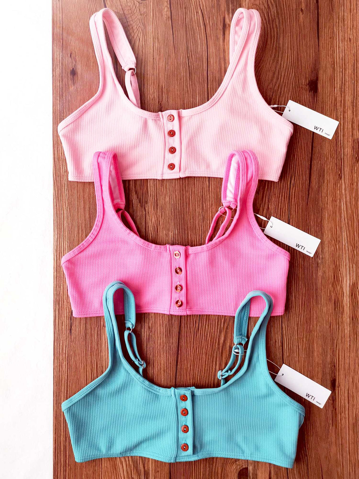 Ribbed Sporty Bikini Swimsuits Button Swimwear Up Crop Top Set - worthtryit.com