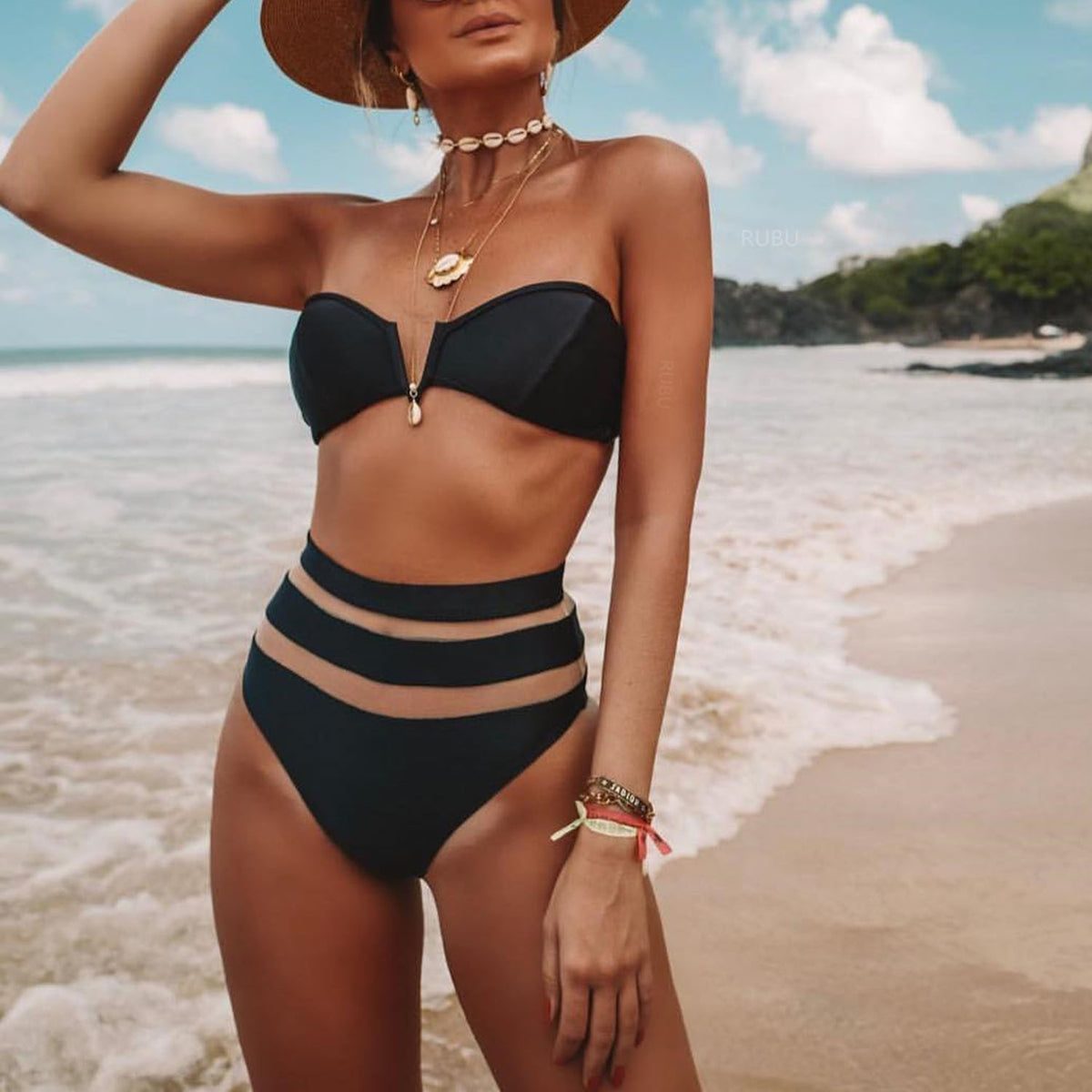 Solid Color V Neck  High Waisted With Mesh Bikini Swimsuit - worthtryit.com
