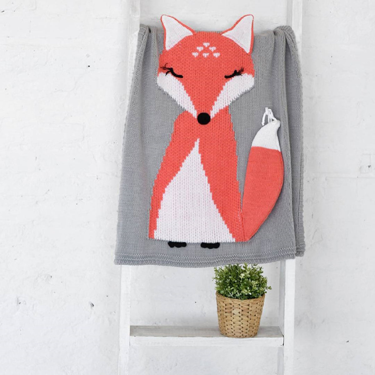 "Lovely Knitted Fox Kids Blanket 42""(L) - worthtryit.com"