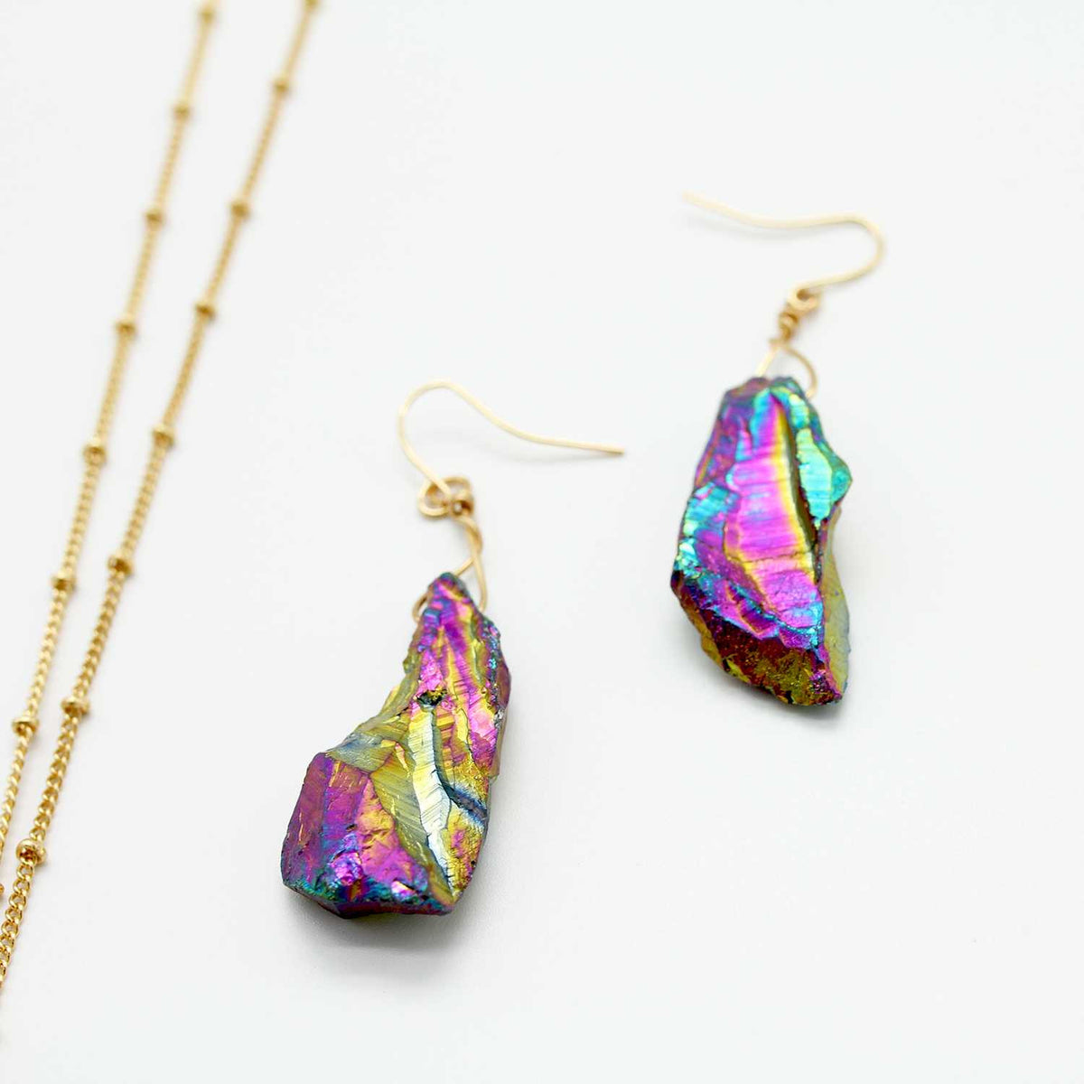 Multi Color Gild Irregular Natural Stone Jewelry Set Pendant & Necklace - worthtryit.com