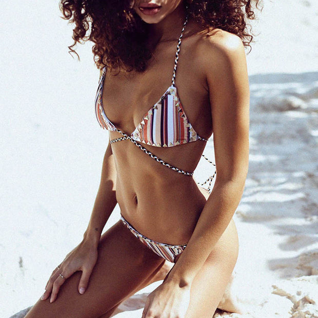 Triangle Studs Stripe Strapped Wrapped Bikini Set - worthtryit.com