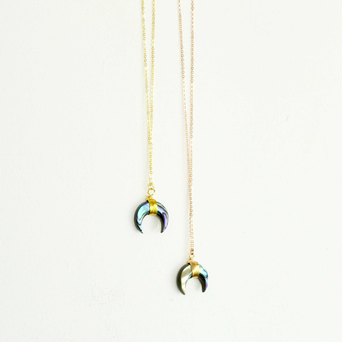 "Double Horn Moon Crescent Abalone shell Pendant Necklace With 16"" 925 Sterling Silver 1.2mm O Chain - worthtryit.com"