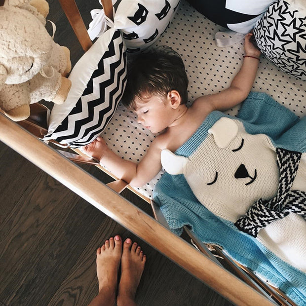 "Adorable White Bear Knitted Kids Blanket 42"" - worthtryit.com"
