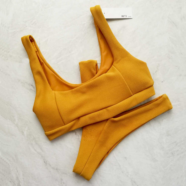 Ribbed Crop Top High Cut Bikini Set - worthtryit.com