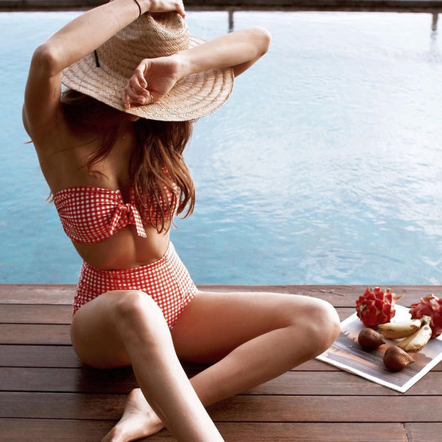 Red Check Front Tie Bow High Waist Bikini Set - worthtryit.com