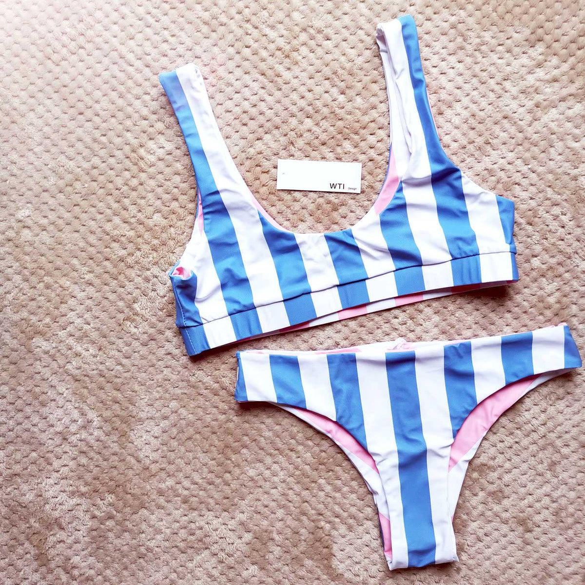 Reversible Colorful Stripes Crop Top Bikini Set - worthtryit.com
