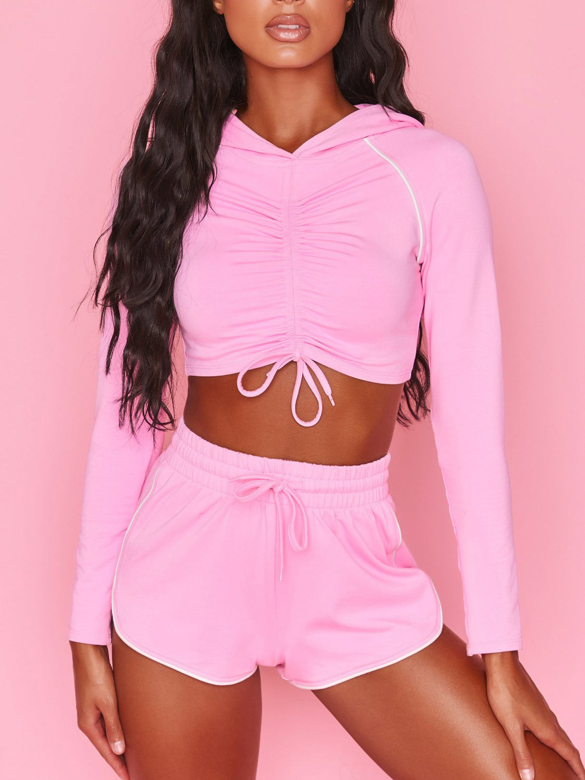 Shirring Crop Top With Hood & Yoga Shorts Fitness Suit