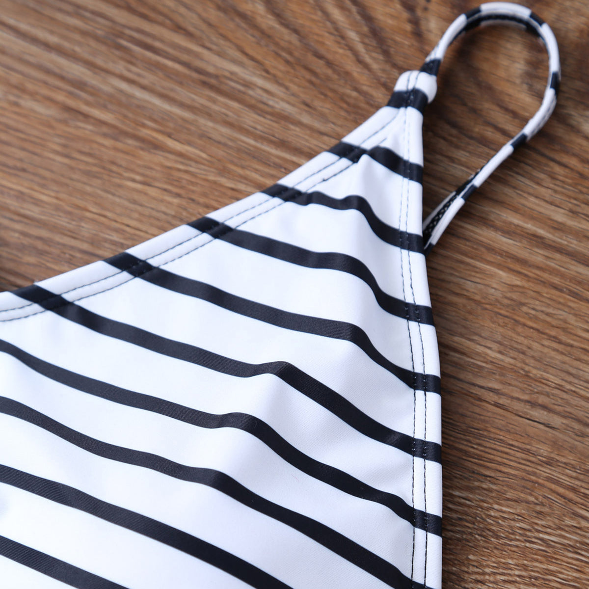 White Striped Modest One Piece Swimsuit Backless - worthtryit.com