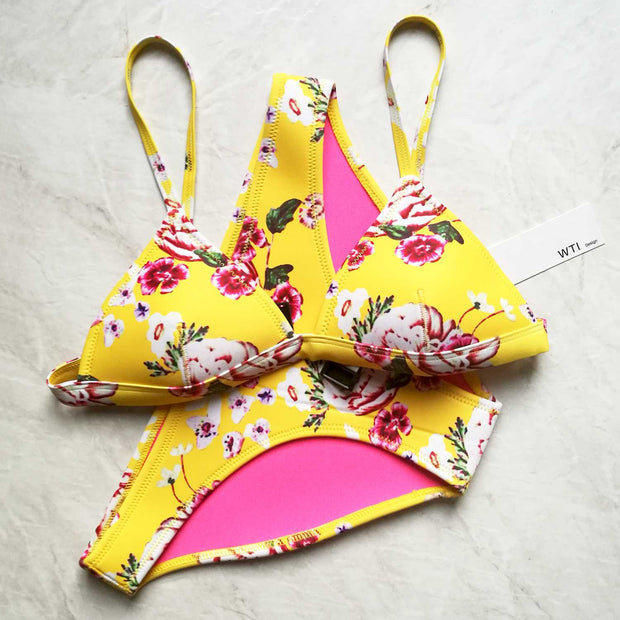 Neo Floral Print Triangle Bikini Set- Yellow - worthtryit.com
