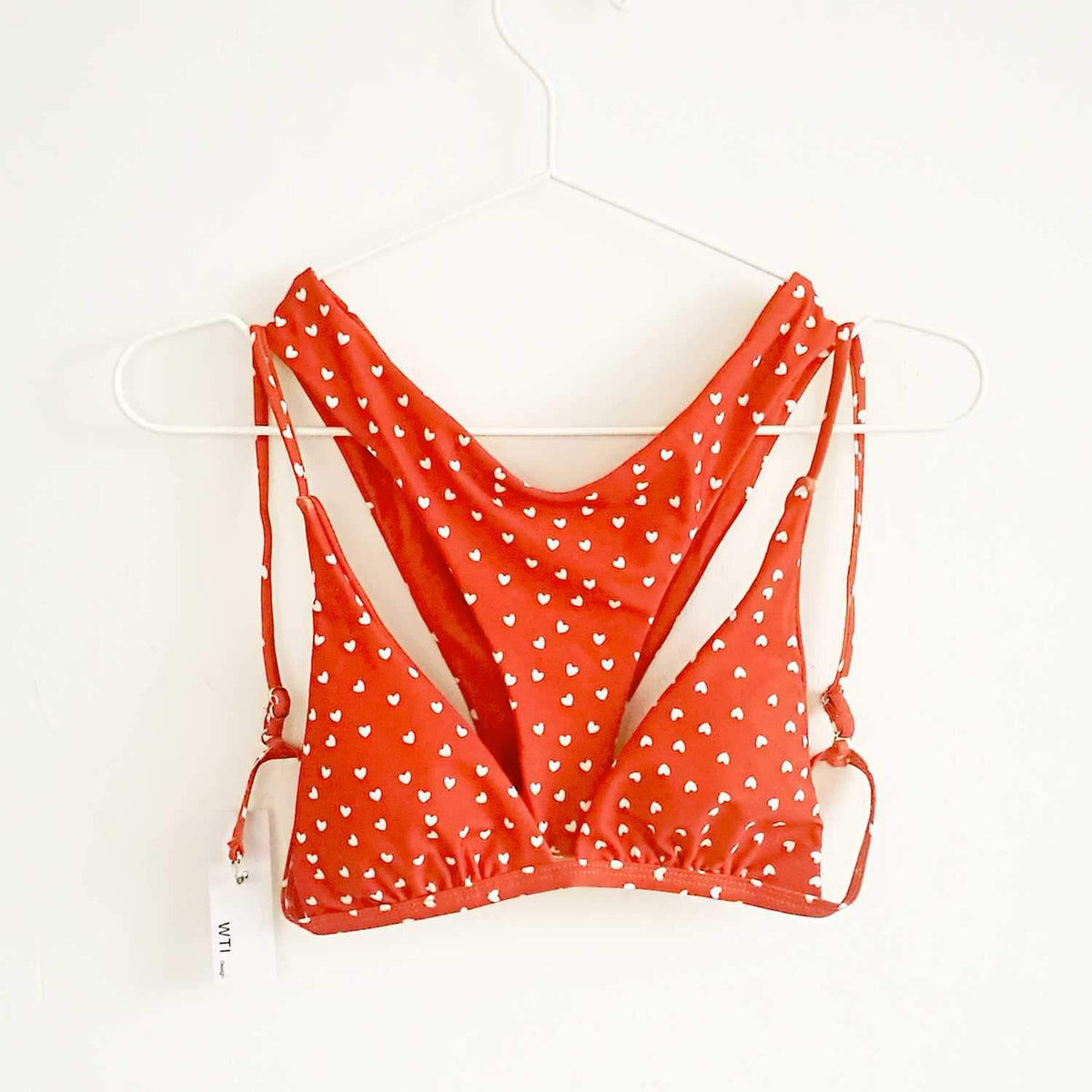 Heart Print Triangle Bikini Set - Red - worthtryit.com