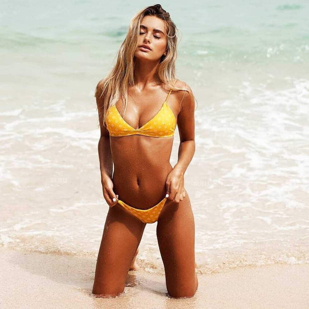 Exotic Print Triangle Bikini Set- Yellow - worthtryit.com