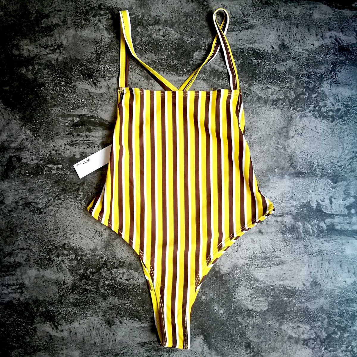 Multi Stripes Crossed Open Back One Piece Swimsuit- Yellow - worthtryit.com