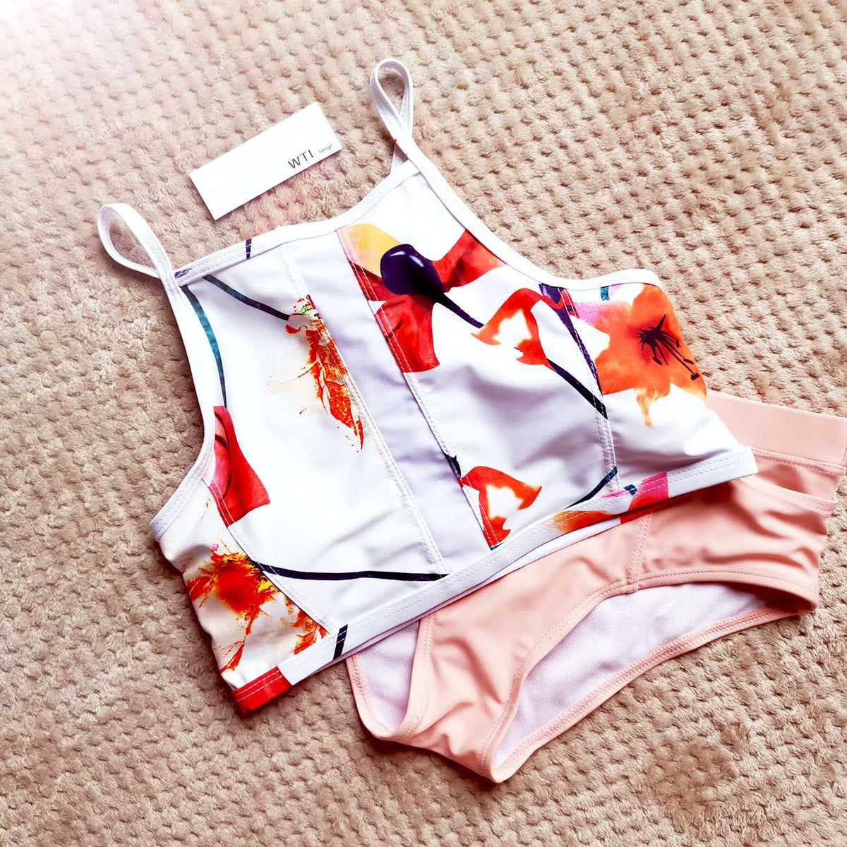 Floral Print High Neck Two Piece Swimsuit - worthtryit.com