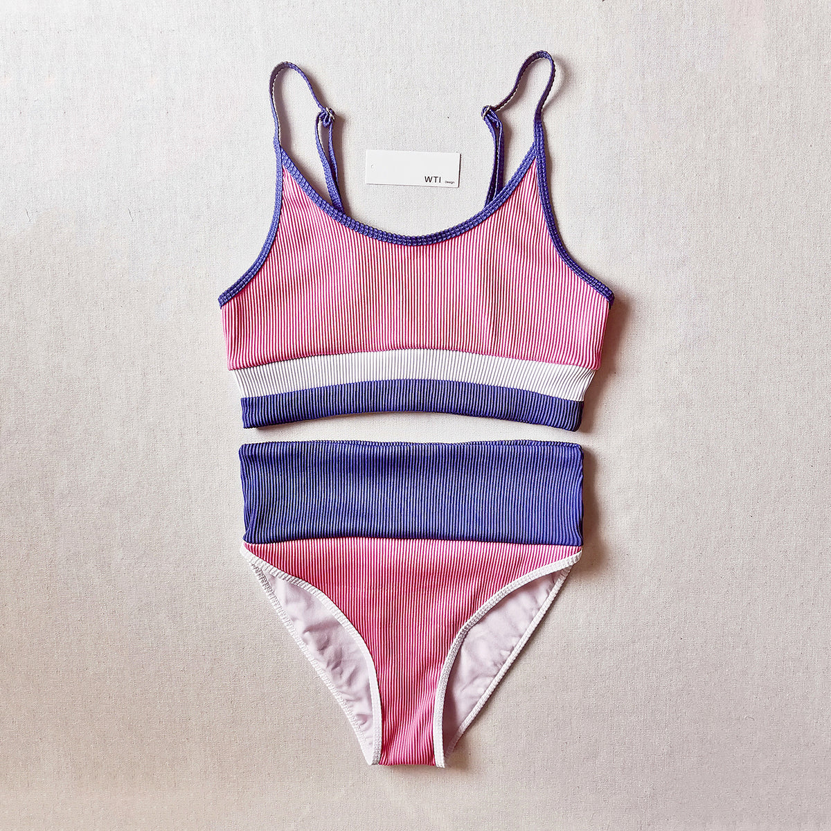 Color Block Ribbed High Waist Crop Bikini Swimsuit TL20