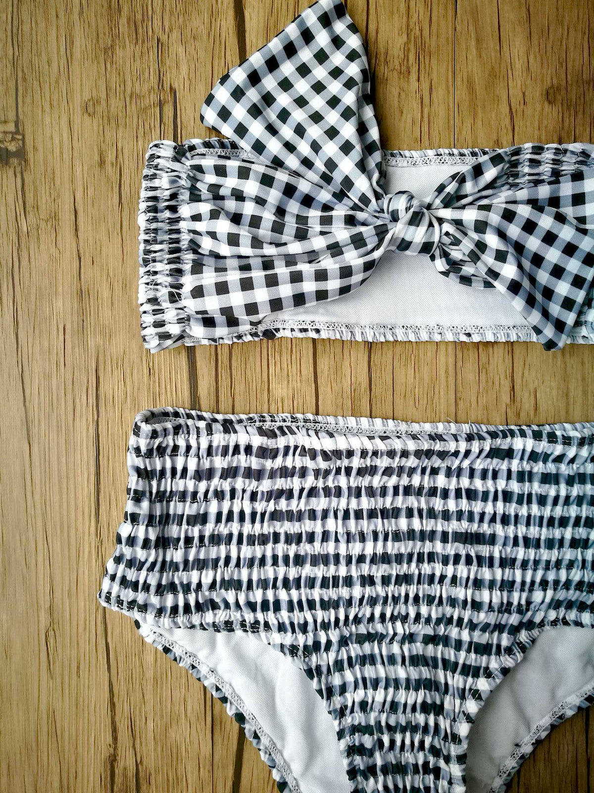 Scrunch Gingham Mega Bow High Waist Strapless Bikini Set - worthtryit.com