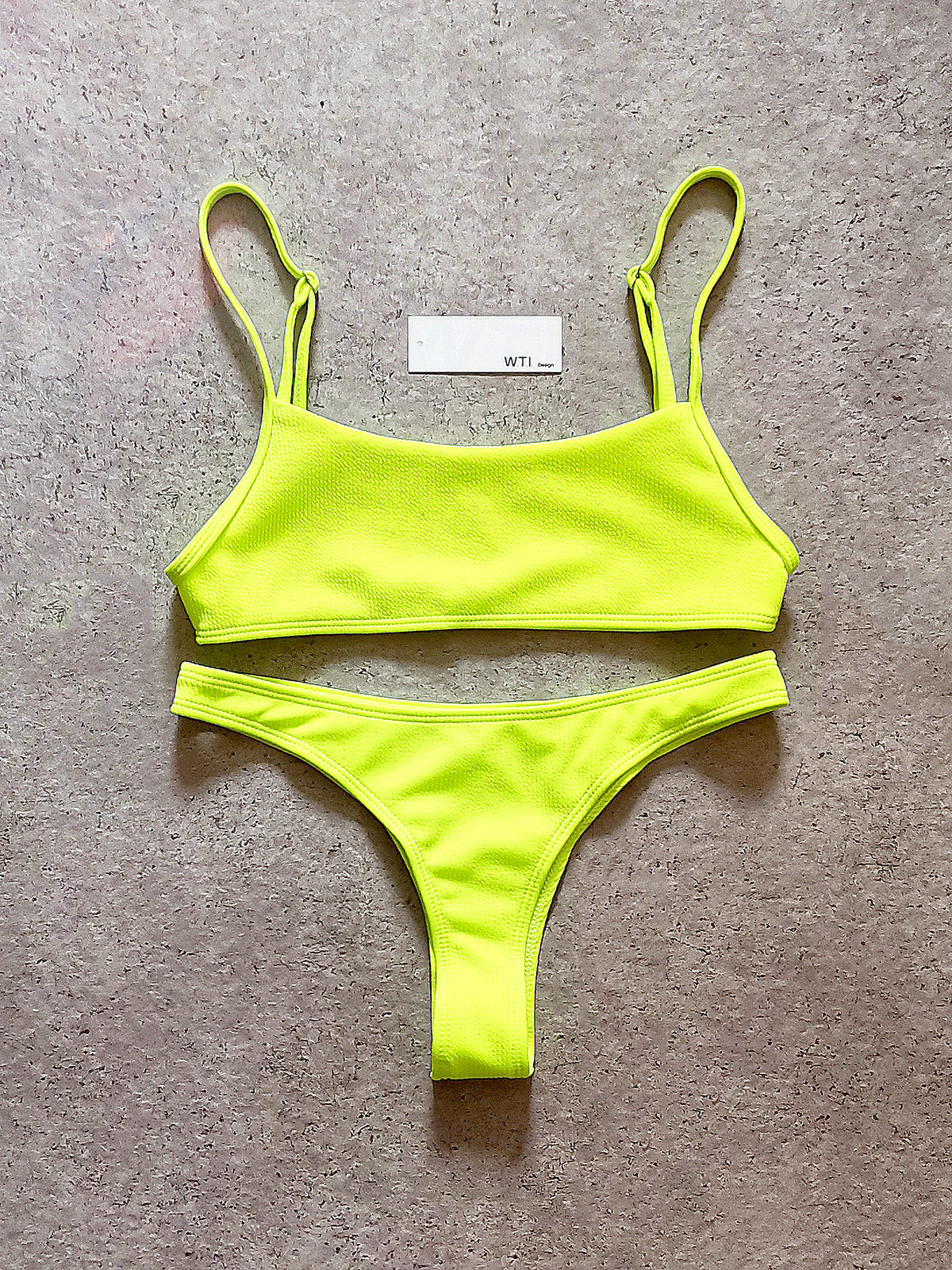 Ribbed Sporty Crop Top High Cut Bikini Swimsuit 1109
