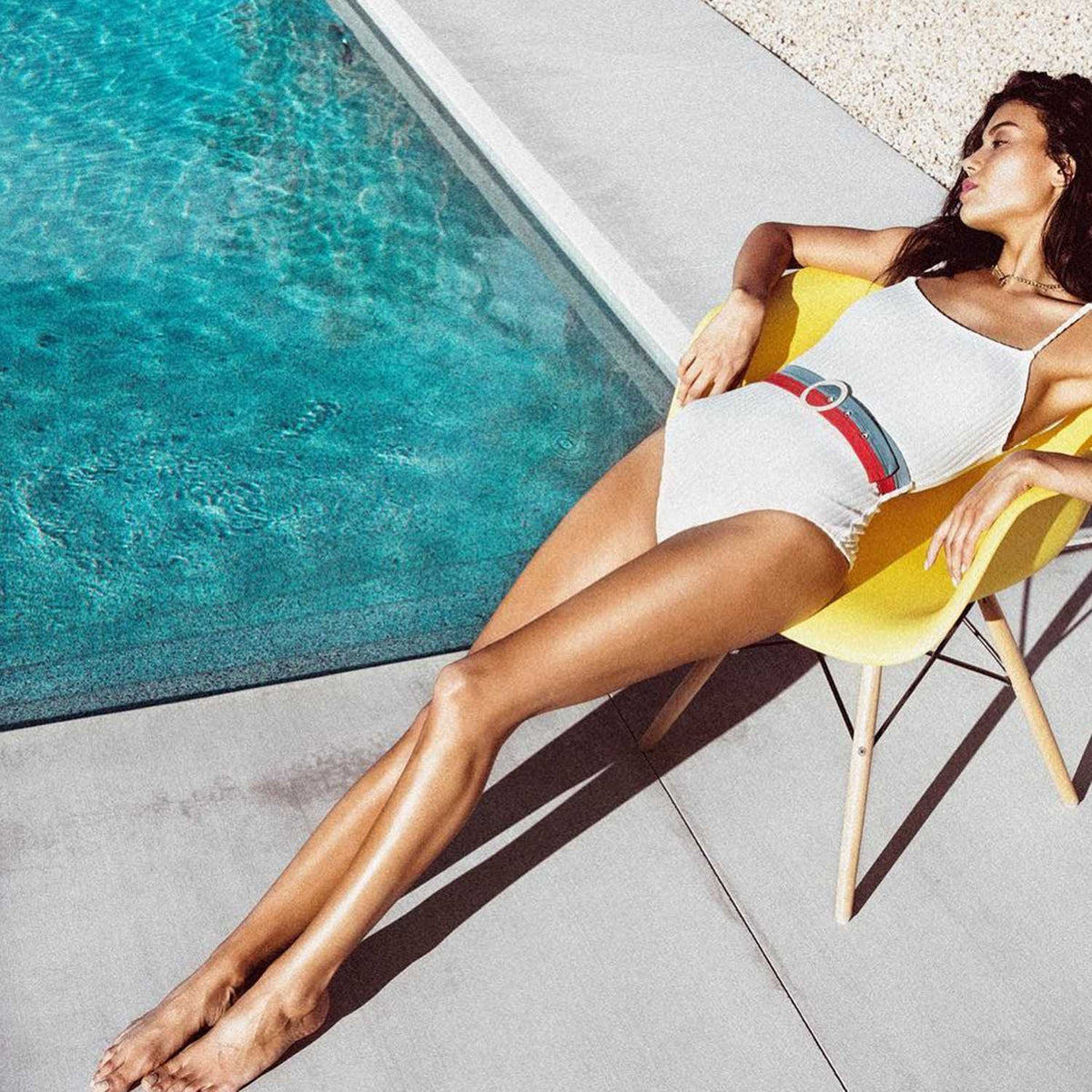 Ribbed High Cut One Piece Swimsuit With Multicolor Stripe Belt - worthtryit.com