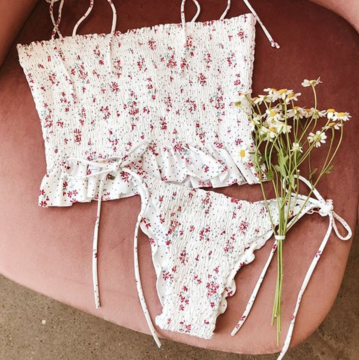 Cute Floral Print Scrunched Tie Shoulder Crop Top Bikini Swimsuit - worthtryit.com