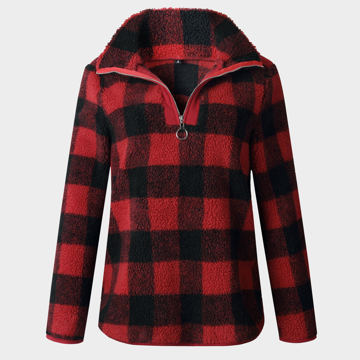 Checked Zip Stand-Up Fleece Sweater - worthtryit.com