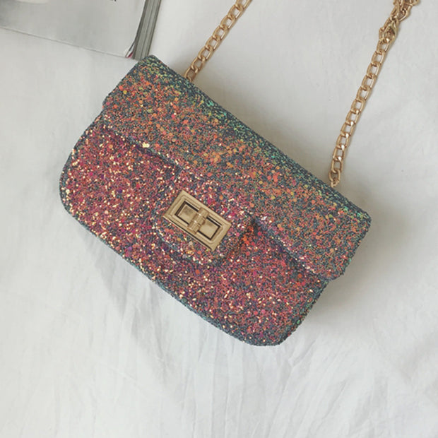 Reversible Sequined Chain Bag - worthtryit.com