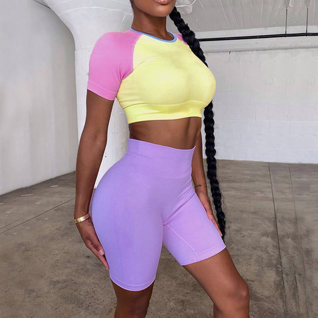 Color Block Sporty Crop Top & Yoga Shorts