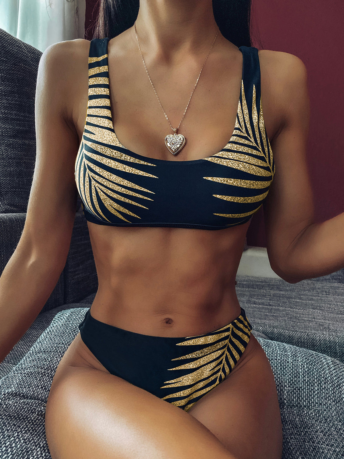 Golden Leaves Print Crop Top Bikini Swimsuit - worthtryit.com