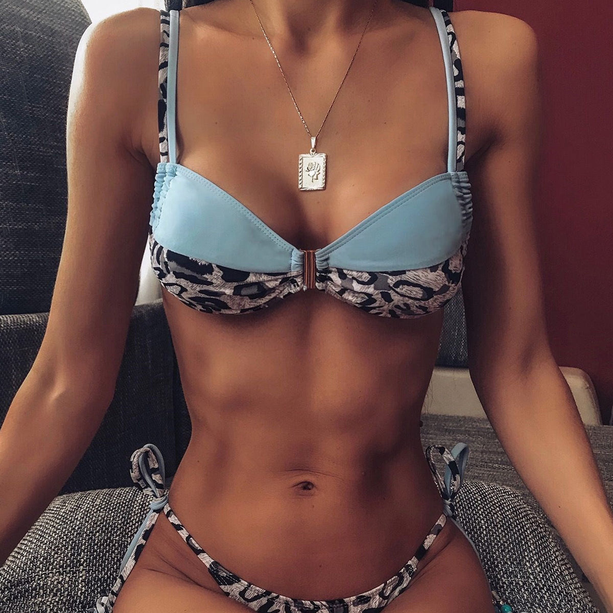 Leopard Blocked Crop Top Bikini Swimsuit - worthtryit.com