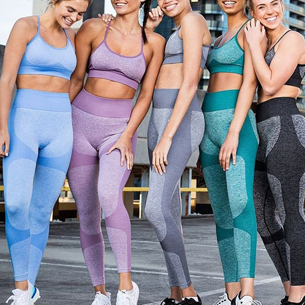 Color Block Strappy Crop Top 2 Piece Yoga Sports Fitness Suit - worthtryit.com