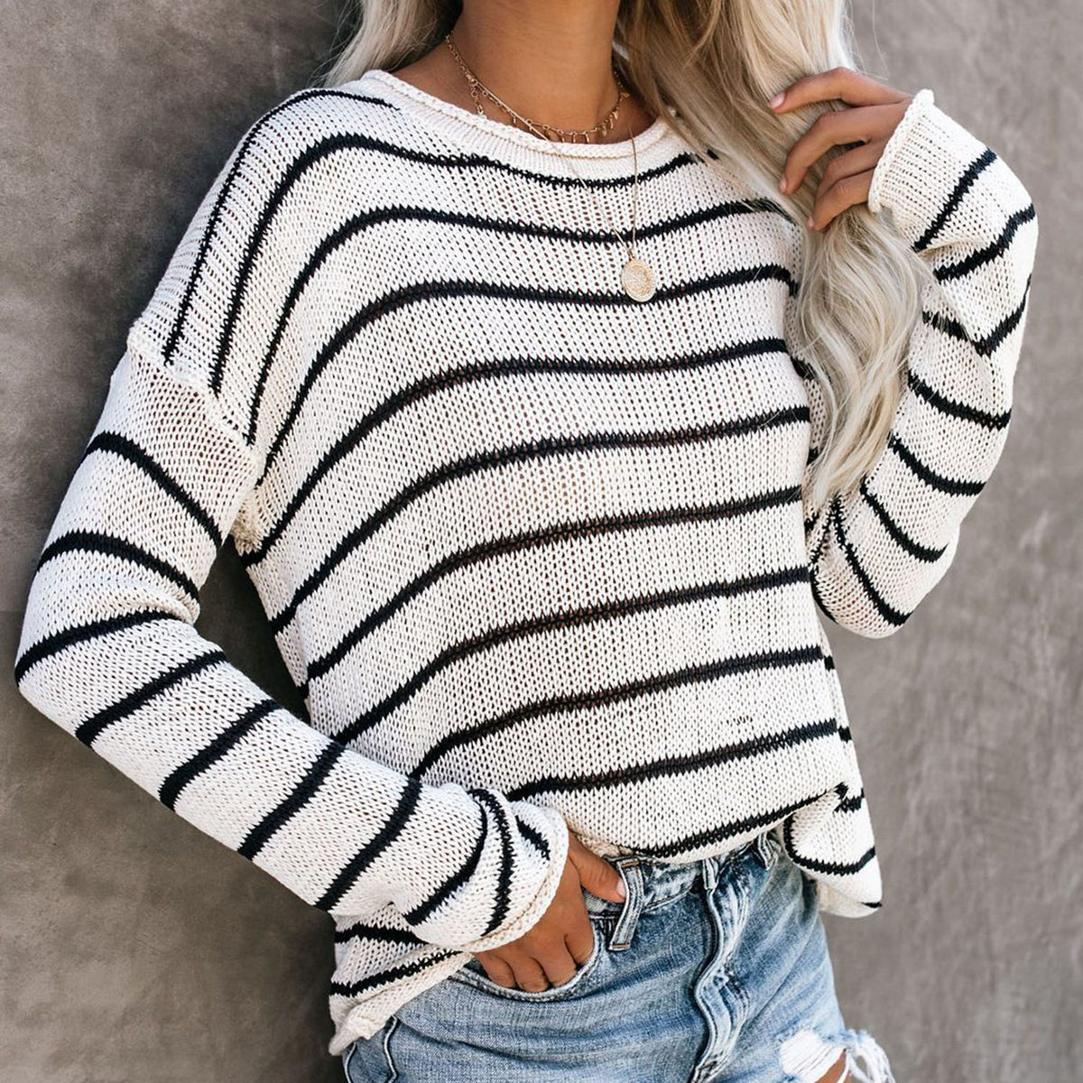 Cute Stripes Loose Knit Sweater