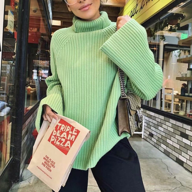 Oversize High Neck Flare Sleeves Knit Sweater - Green - worthtryit.com