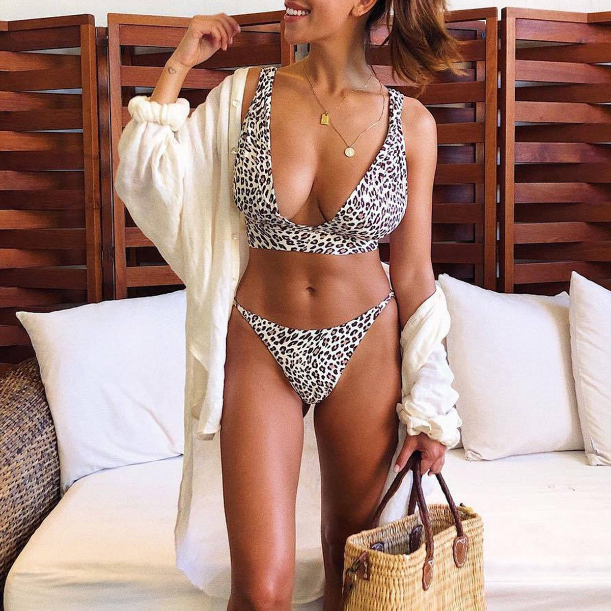 Animal Print Deep V Crop Top Bikini Swimsuit - worthtryit.com