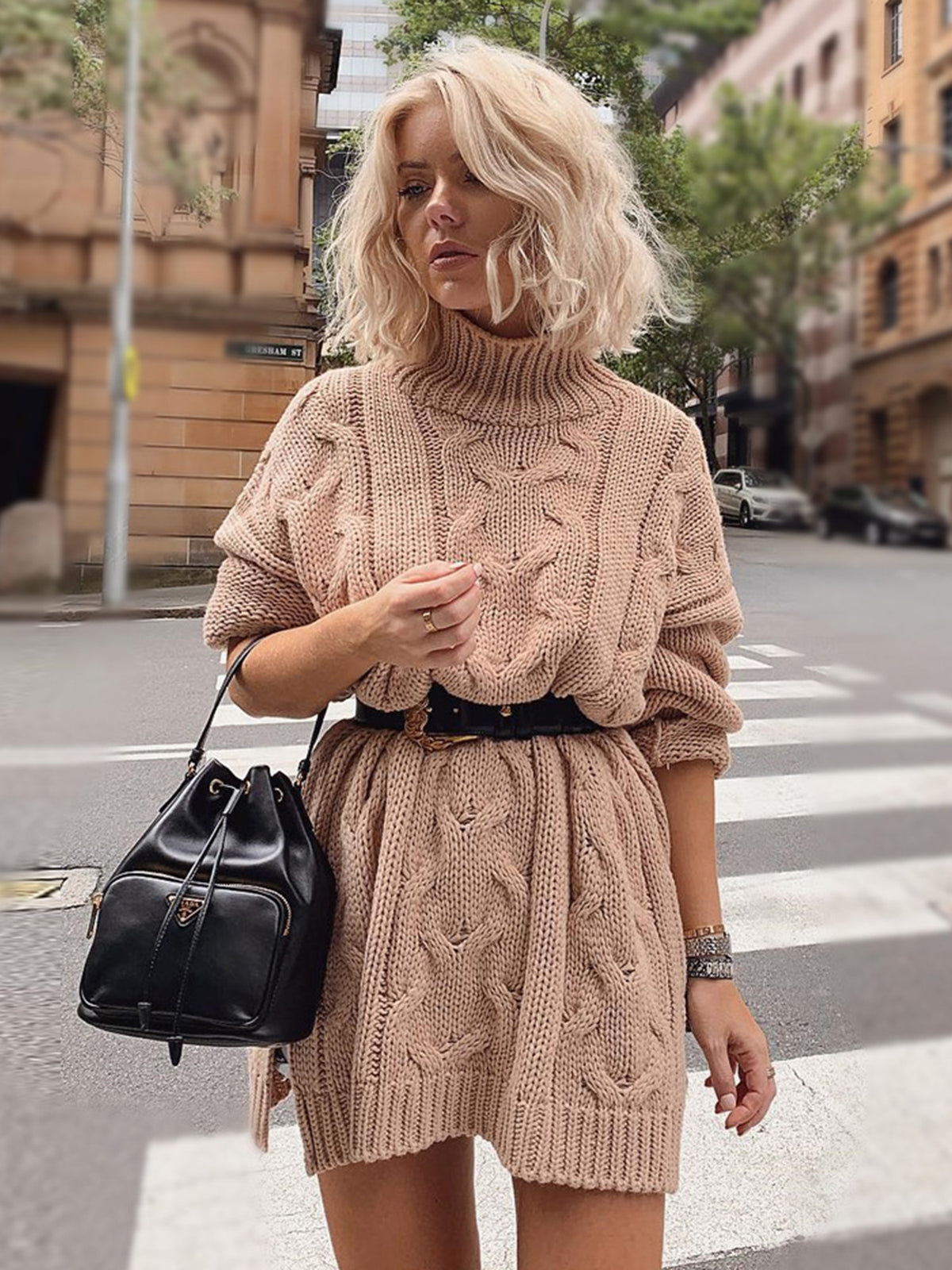 Oversized Cable High Neck Long Sleeve Knit Dress - worthtryit.com