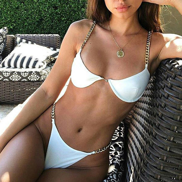 Sexy Metallic Chain Underwire Bikini Swimsuit - worthtryit.com