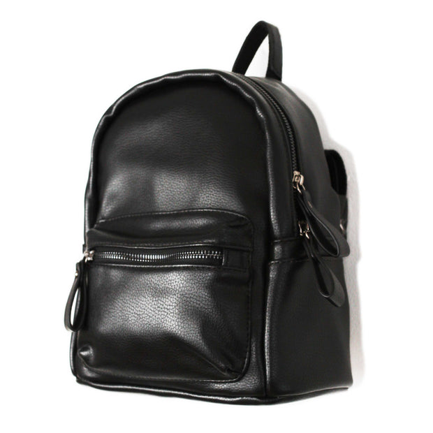 Black PU Backpack Rucksack Bag - worthtryit.com