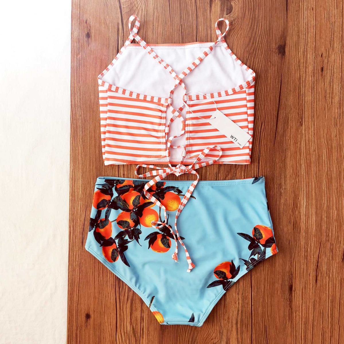 Lace up High Neck Two Piece Swimsuit