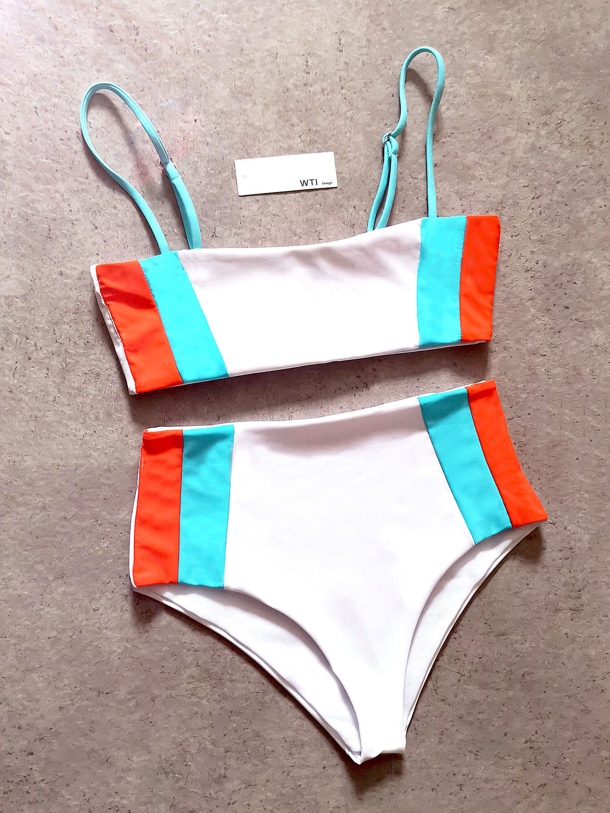 Color Blocked High Waist Crop Top Bikini Swimsuit