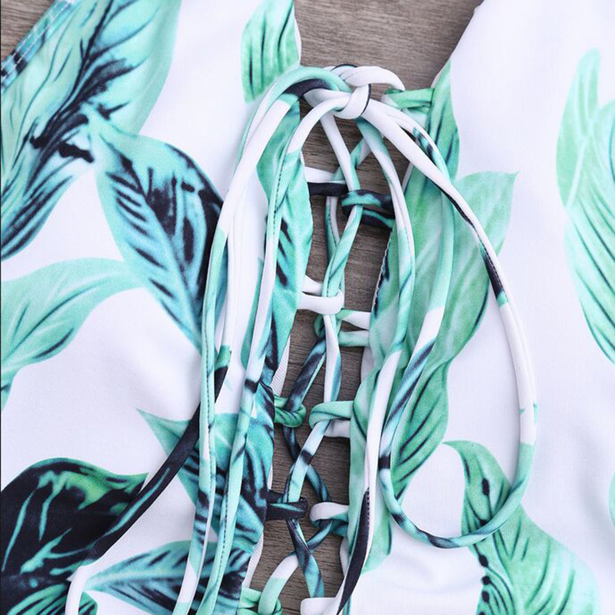 Leaves Print Lace Up One Piece Bikini Set - worthtryit.com