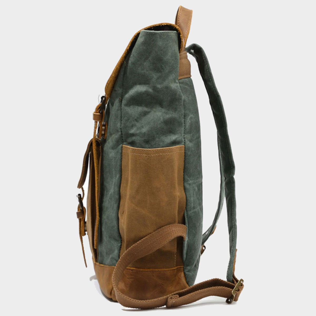 Vintage Style Unisex Canvas & Leather Rucksack Backpack 14""