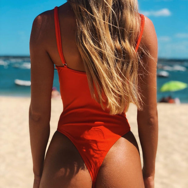 Ribbed Push Up One Piece Swimsuit-Red - worthtryit.com