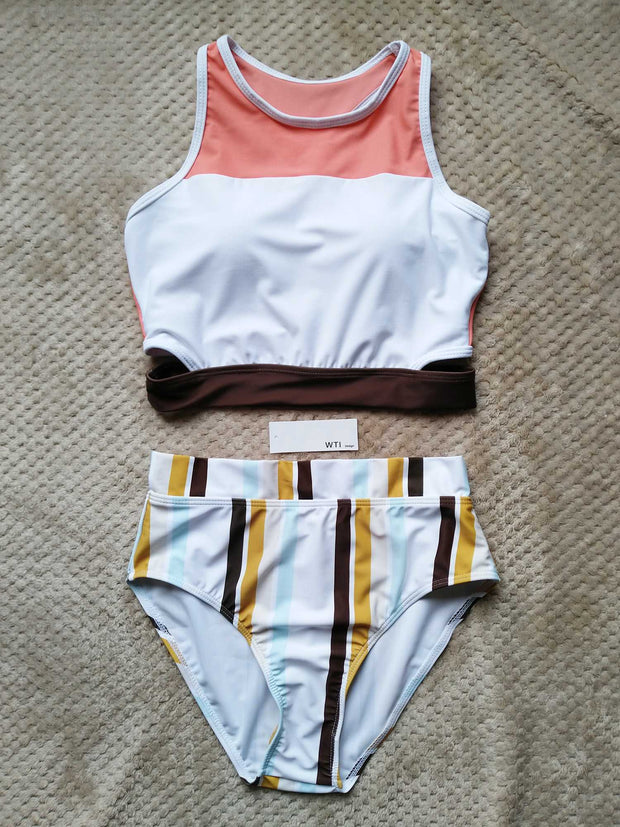 Colorful Stripes Sporty Crop Top High Waist Bikini Set - worthtryit.com
