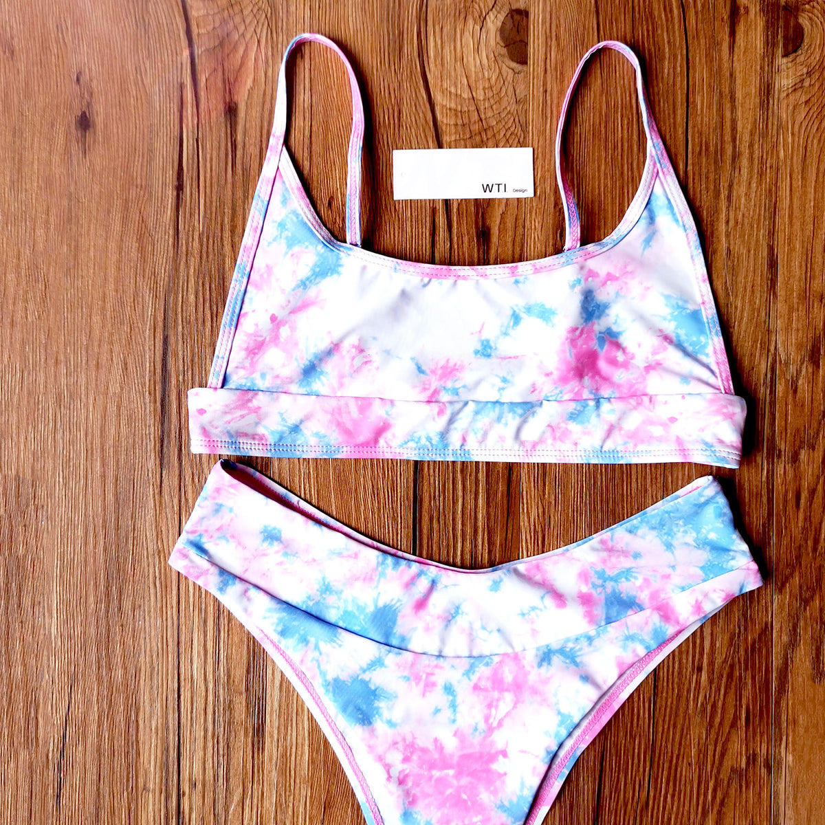 Tie Dye Crop Top Bikini Swimsuit - worthtryit.com