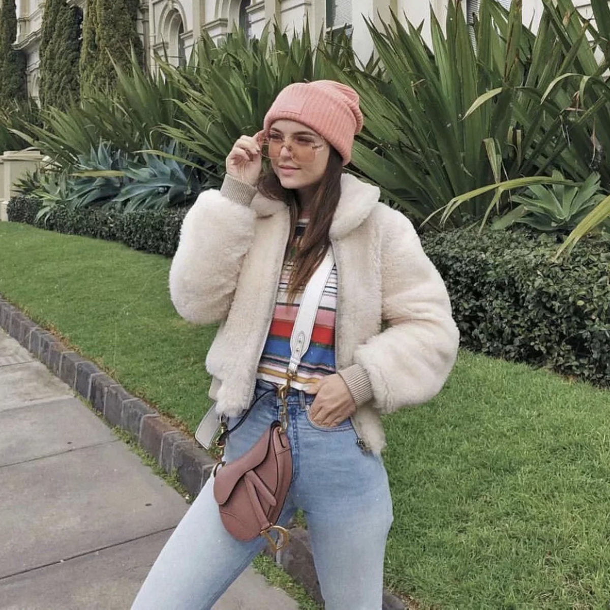 Fuzzy Faux Fur Teddy Jacket- White - worthtryit.com