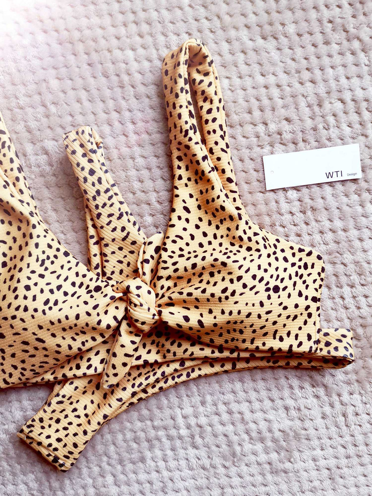 Ribbed Leopard Print Knot Front Tie Up Bikini Set - worthtryit.com